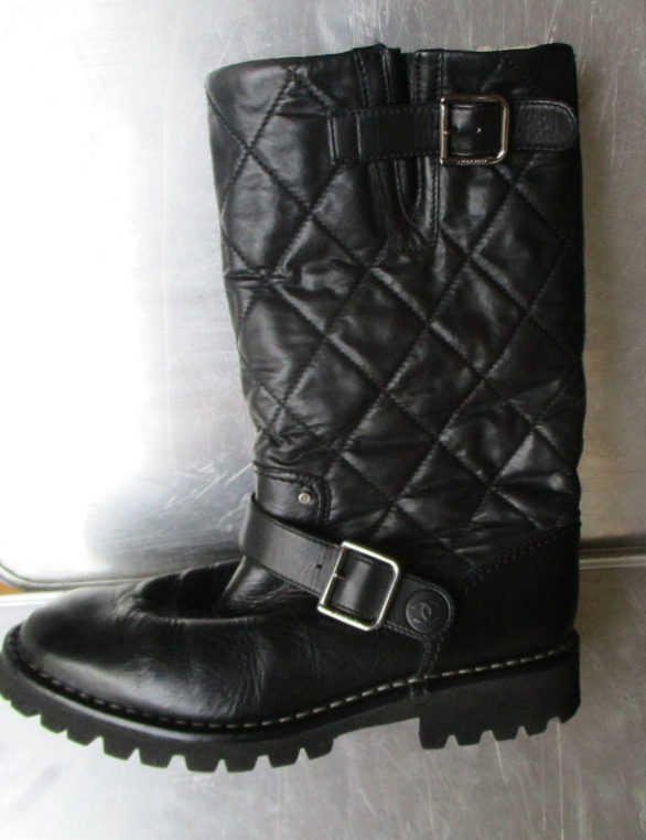 Chanel black quilted leather biker